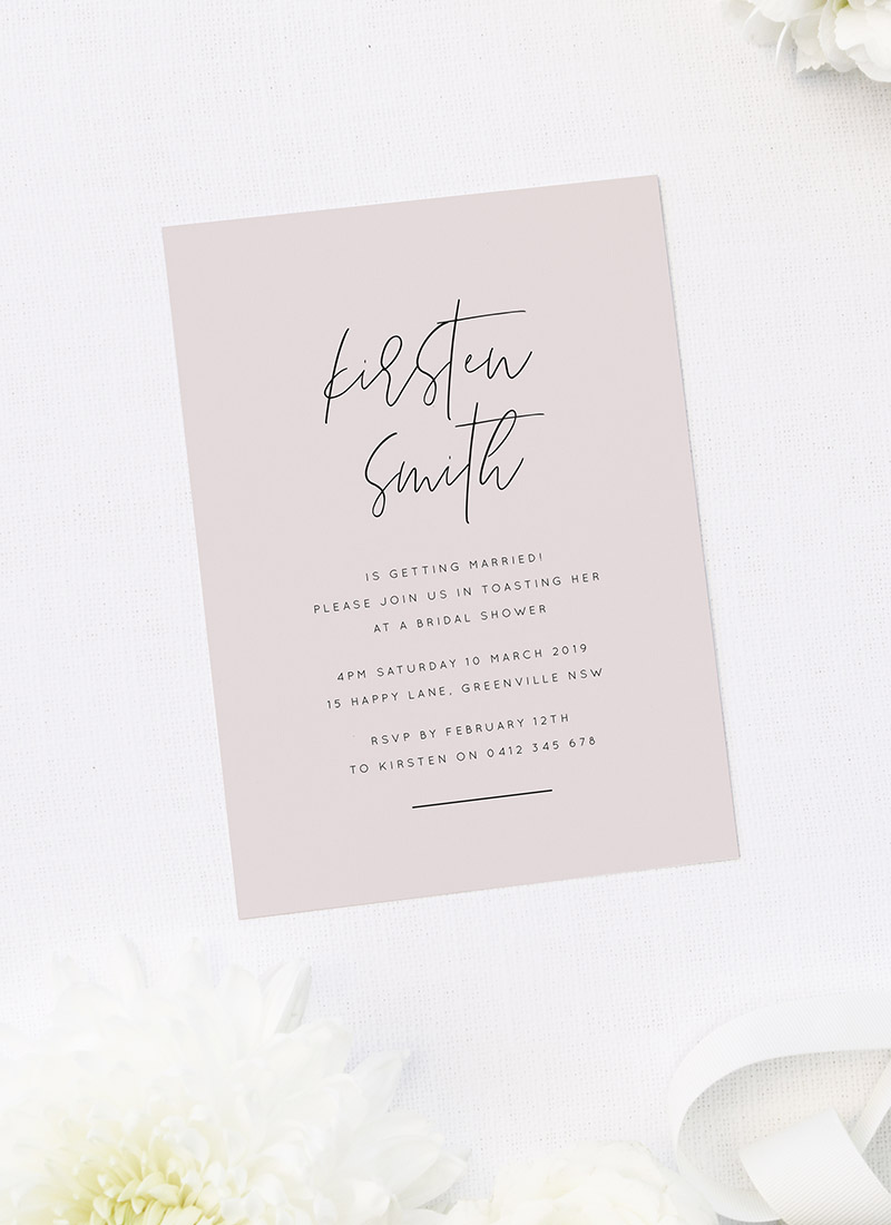 Luxe Blush Pink Bridal Shower Invitations