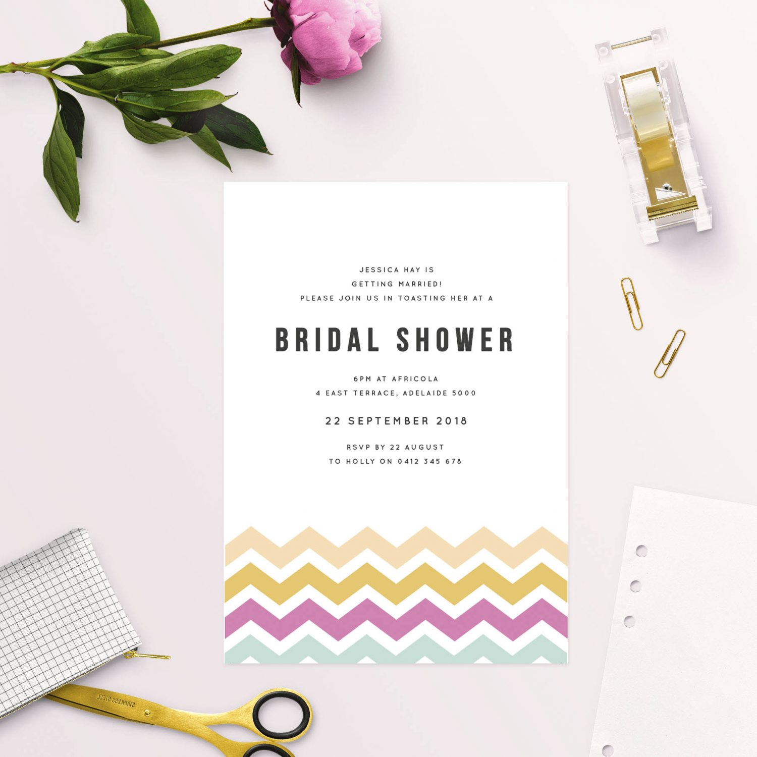 colourful chevron bridal shower invitations pink yellow blue