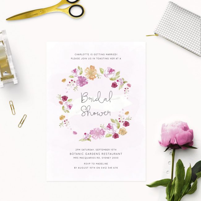 floral wreath bridal shower invitations australia sydney melbourne adelaide perth canberra
