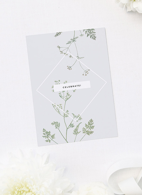 Pale Grey Modern Botanical Bridal Shower Invitations