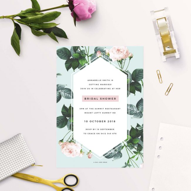 mint green pink roses bridal shower invitations australia sydney perth melbourne adelaide brisbane sail and swan