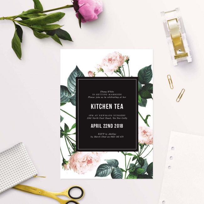 Modern Rose Kitchen Tea Invitations Australia Sydney melbourne Adelaide Perth brisbane Canberra Sail and Swan