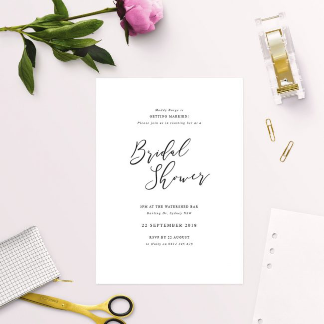 simple elegant calligraphy bridal shower invitations australia sydney adelaide melbourne brisbane perth sail and swan