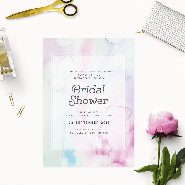 Watercolour Bridal Shower Invitations - Pink Blue and Purple