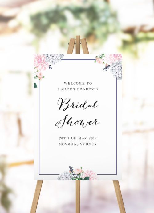 Elegant Pastel Floral Bridal Shower Welcome Sign blush pink floral kitchen tea welcome sign australia