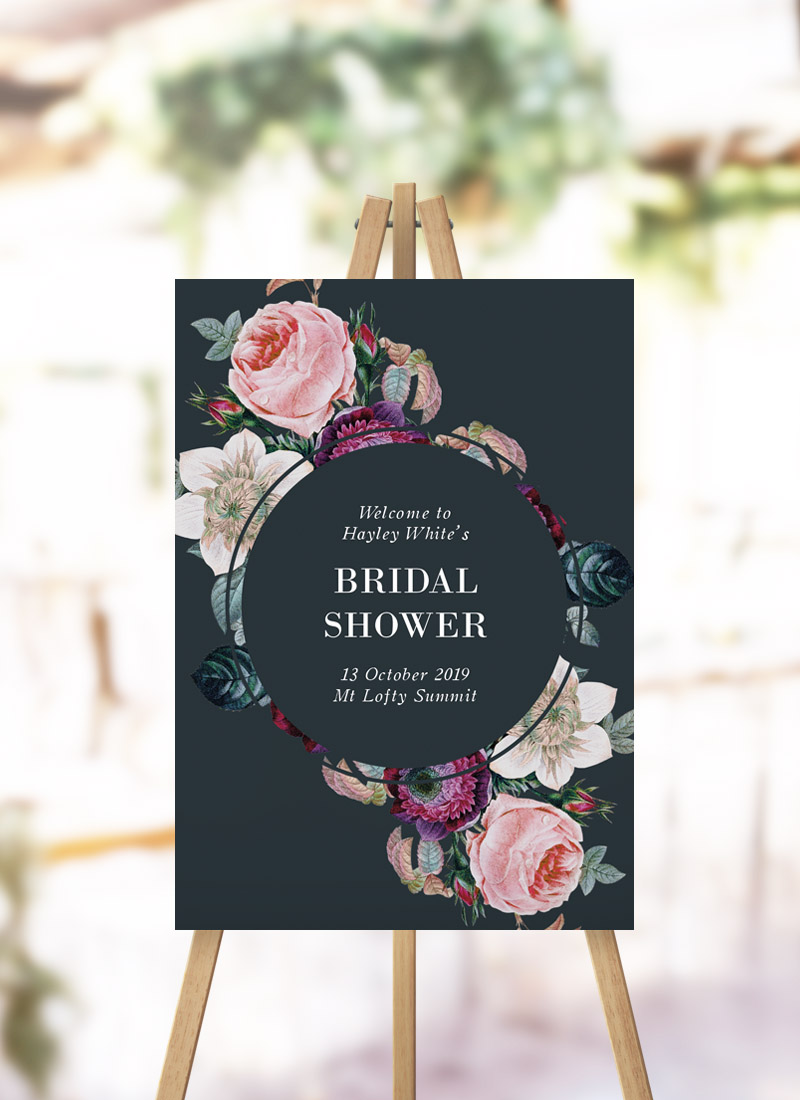 Dark Moody Floral Bridal Shower Sign