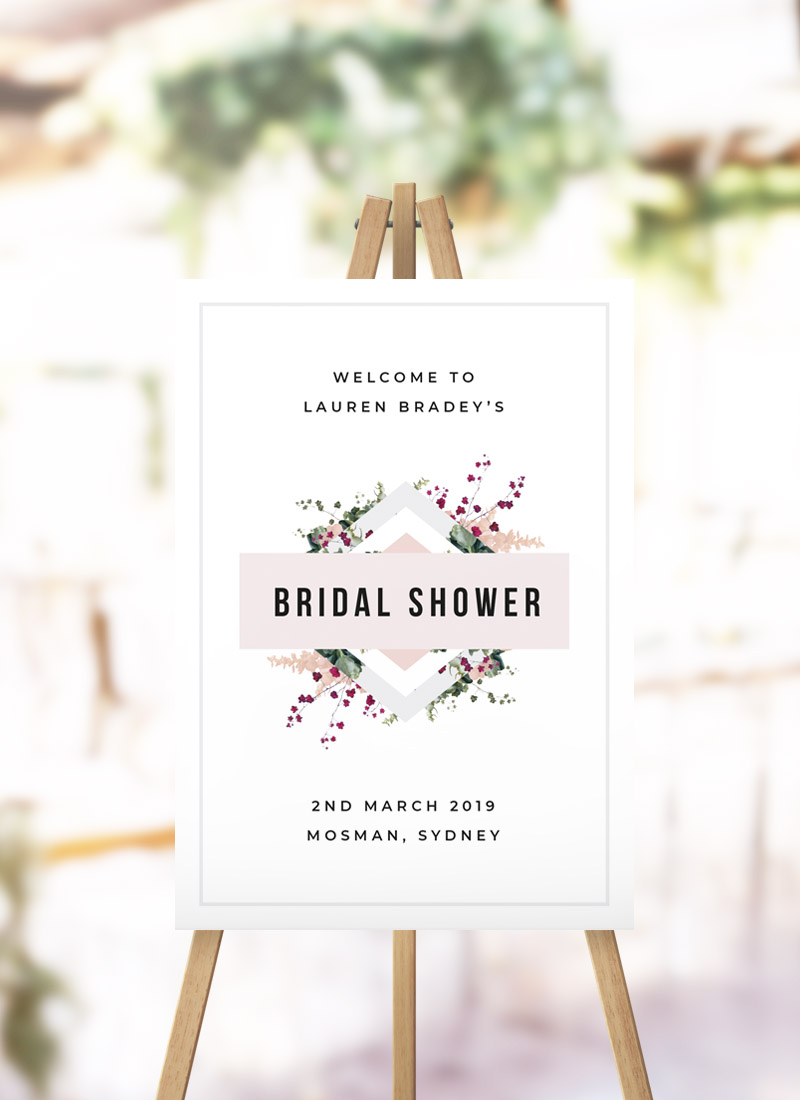 Blush Pink Burgundy Botanical Bridal Shower Sign
