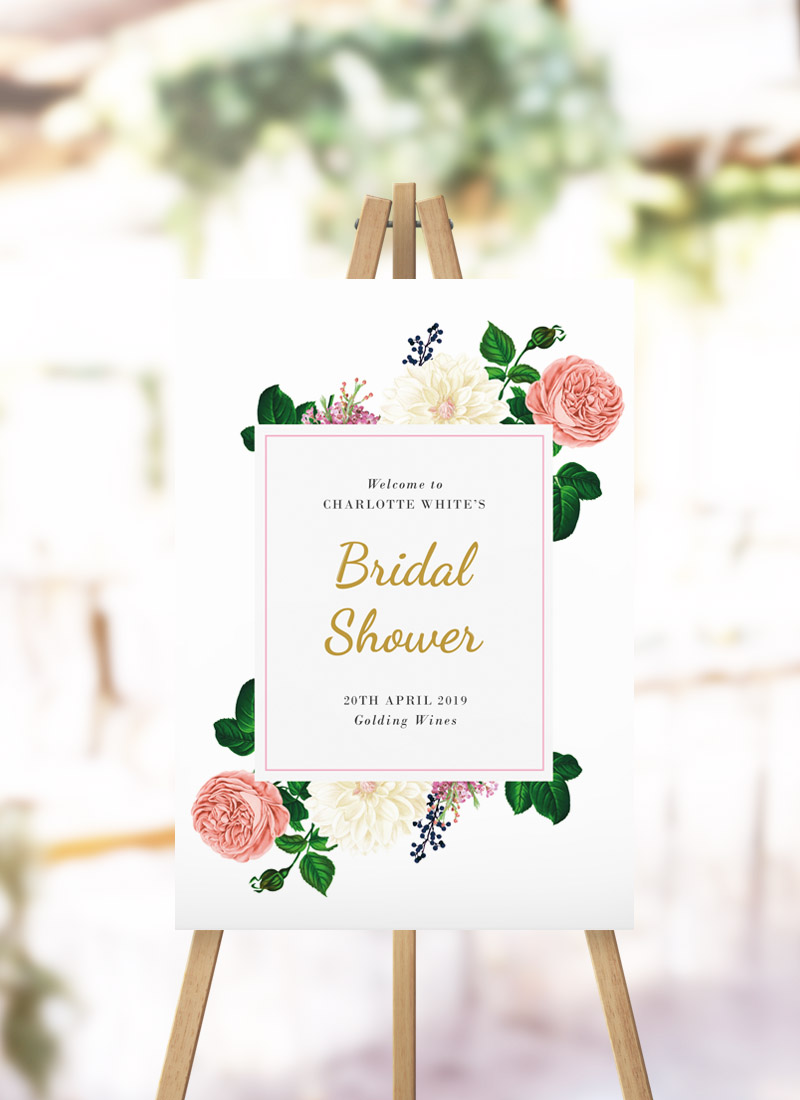 Blush Pink Roses Bridal Shower Sign Elegant floral rose kitchen tea sign australia