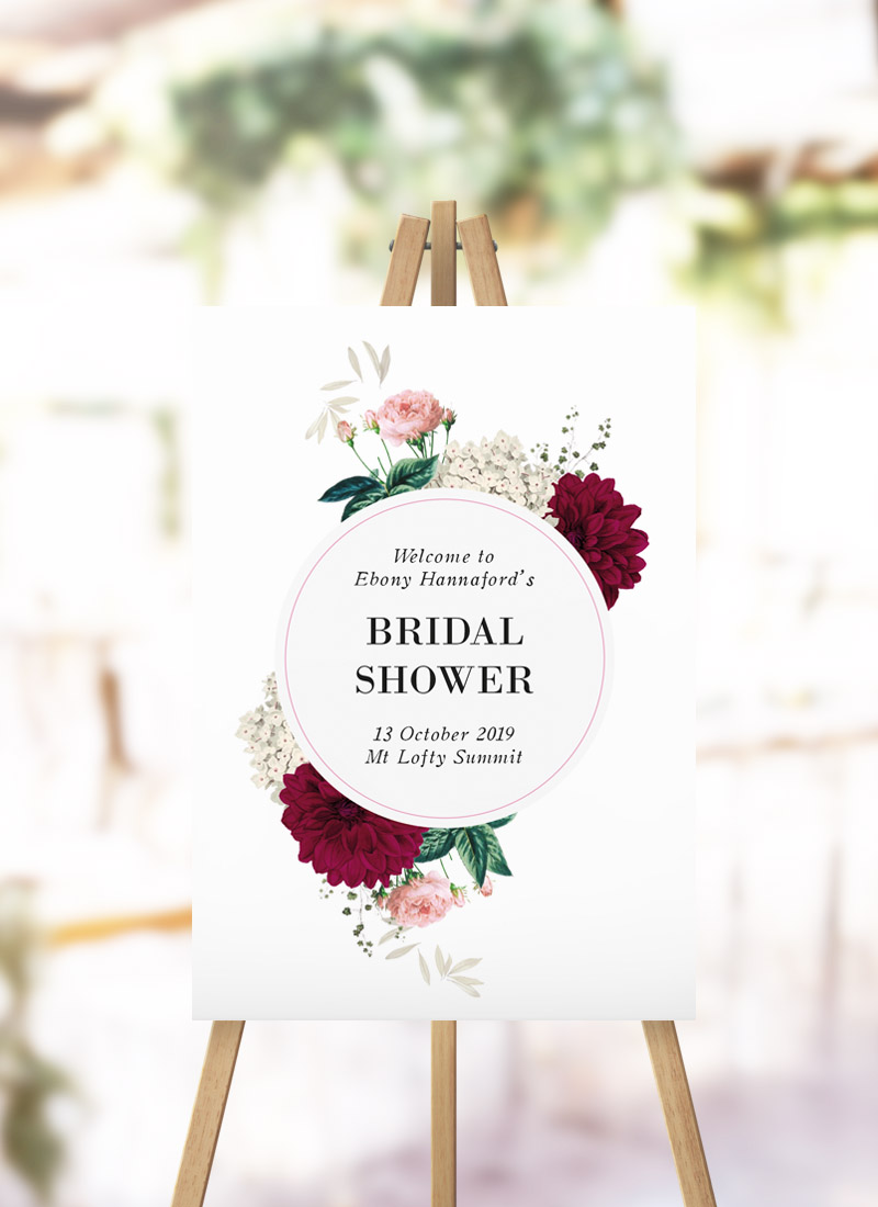 Floral Burgundy Bridal Shower Sign kitchen tea crimson flower sign australia