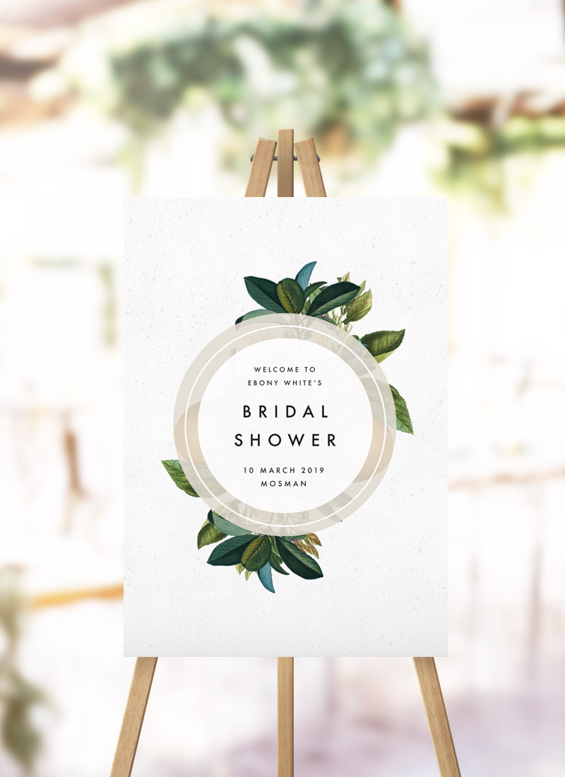 Modern Botanical Leaf Bridal Shower Sign Modern Greenery Green Leaf Kitchen Tea Sign