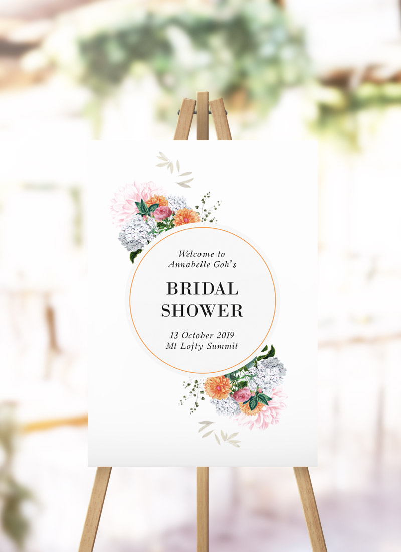 Pink Orange Floral Bridal Shower Welcome Sign stunning flowers hydrangeas spring bouquet kitchen tea welcome sign australia
