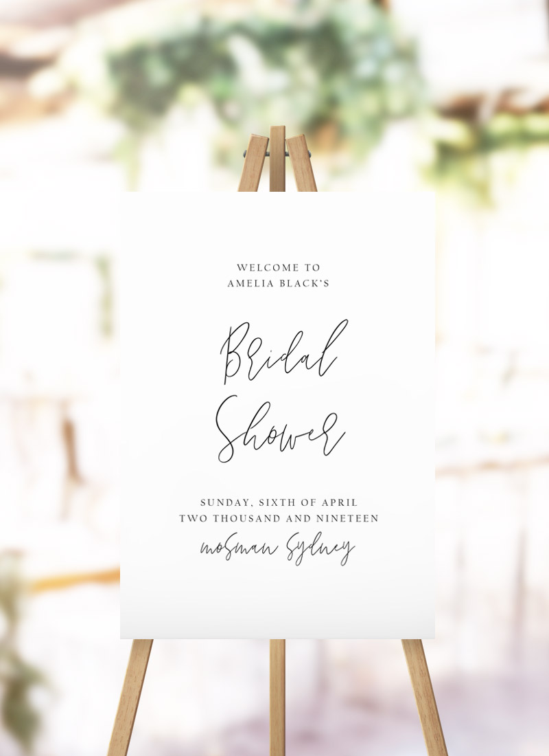 Simple Hand Script Bridal Shower Welcome Sign modern simple writing kitchen tea sign australia