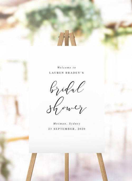 Flowing Cursive Calligraphy Bridal Shower Welcome Sign - cursive kitchen tea welcome sign australia