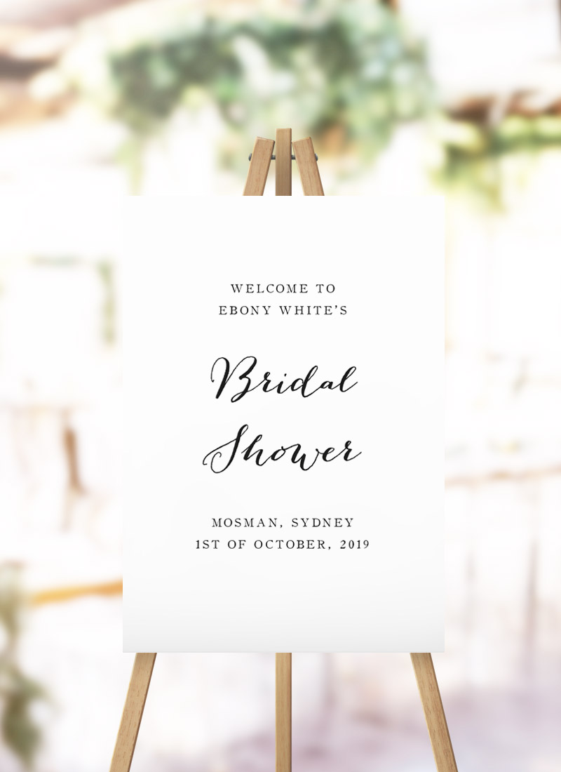 Elegant Cursive Bridal Shower Welcome Sign cursive script writing kitchen tea welcome sign australia