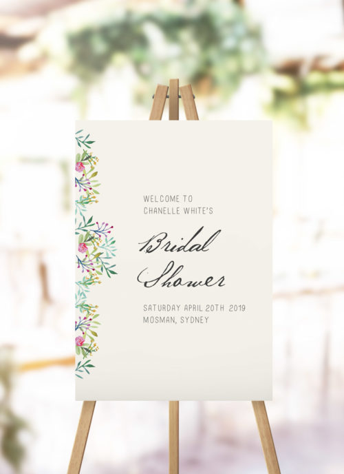 Forest Foliage Greenery Bridal Shower Welcome Sign