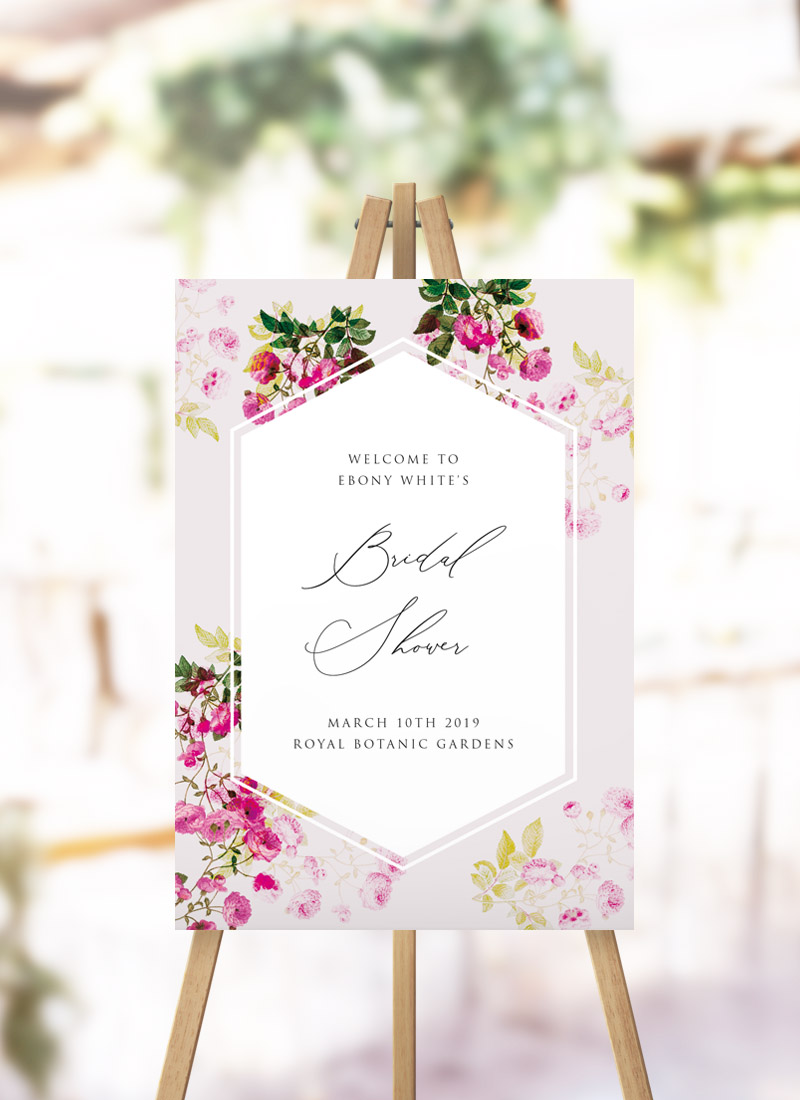 Pink Green Romantic Botanical Bridal Shower Welcome Sign
