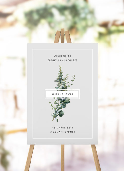 Grey Green Botanical Bridal Shower Welcome Sign
