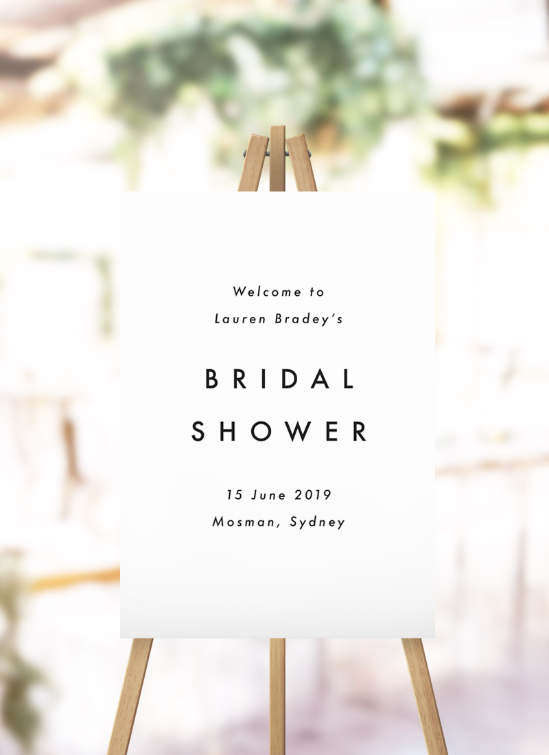 Capital Text Simple Minimal Bridal Shower Welcome Sign