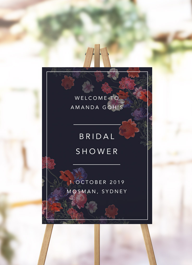 Dark Modern Floral Bridal Shower Welcome Sign Moody Dark floral kitchen tea welcome sign australia