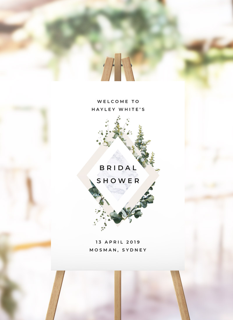 Green Leaves Modern Botanical Bridal Shower Welcome Sign Greenery Foliage Garden Leaves Kitchen Tea Welcome sign australia