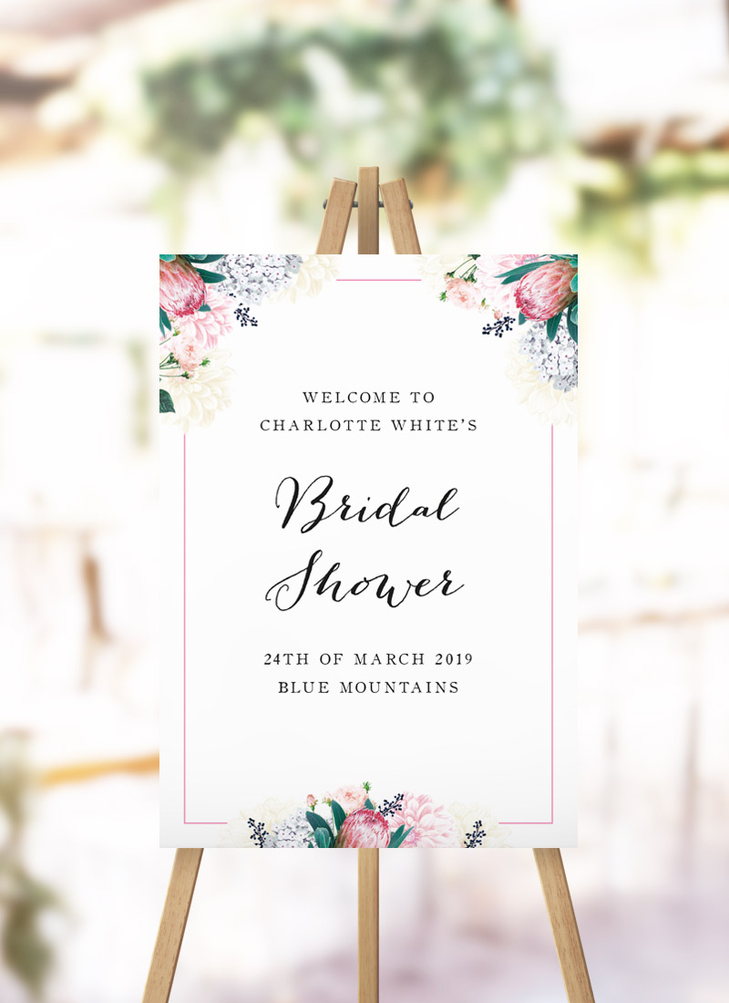 Native Floral Protea Bridal Shower Welcome Sign protea pink pastel flowers florals kitchen tea welcome sign australia
