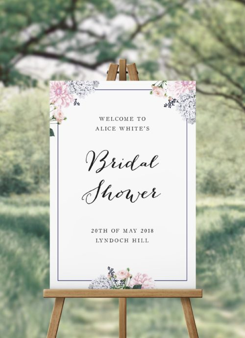 Elegant Pastel Floral Bridal Shower Welcome Sign