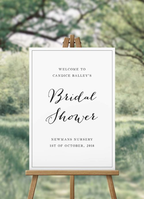 Elegant Hand Calligraphy Bridal Shower Welcome Sign