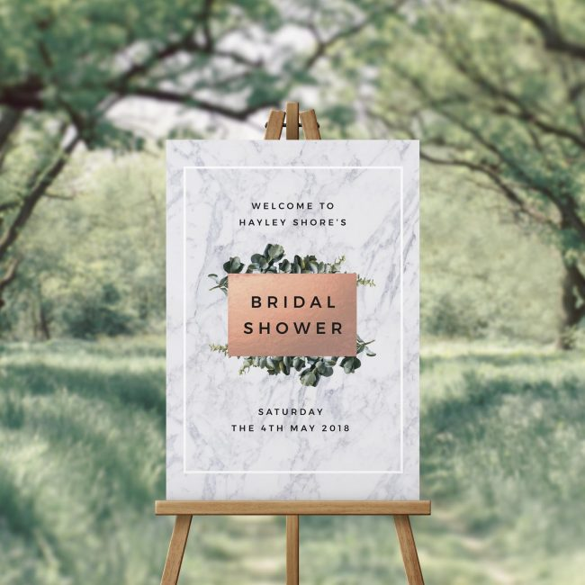 Marble Botanical Greenery Bridal Shower Welcome Sign