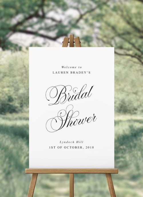Elegant Script Calligraphy Bridal Shower Welcome Sign