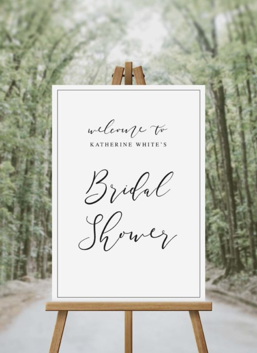 Flowing Script Calligraphy Bridal Shower Welcome Sign