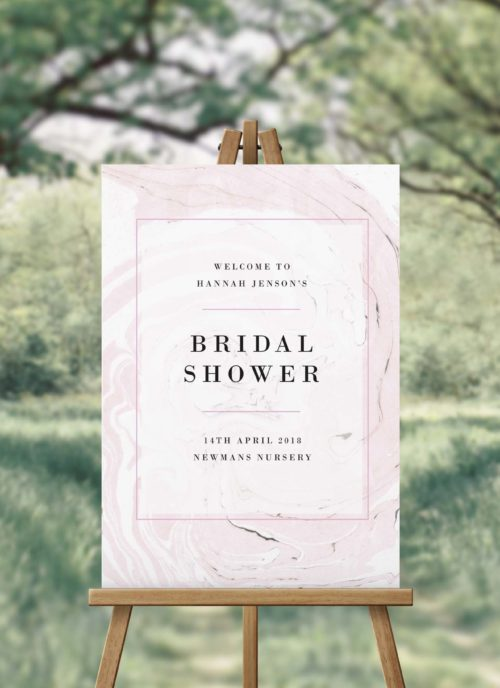 Blush Pink Marbled Bridal Shower Welcome Sign
