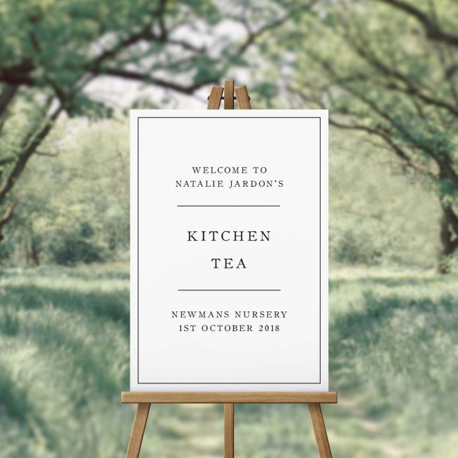 Simple Sophisticated Elegant Kitchen Tea Welcome Sign
