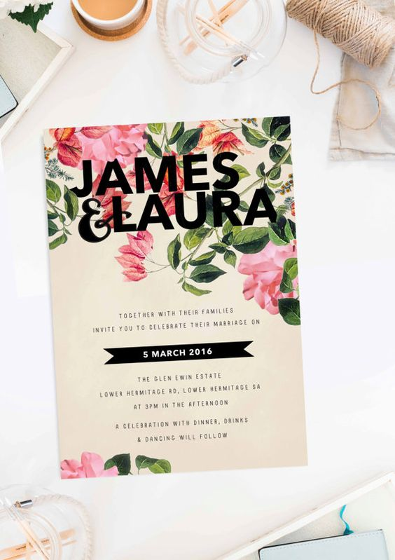 10 Perfect Garden Wedding Invitations Australia Adelaide Sydney Perth Melbourne Canberra Brisbane Botanical Wedding Invitations Sail and Swan