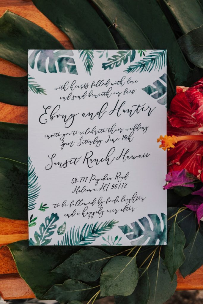 Tropical Boho Wedding Photoshoot in Hawaii romantic hawaiian wedding bohemian tropical wedding invitations watercolour tropical leaves sail and swan