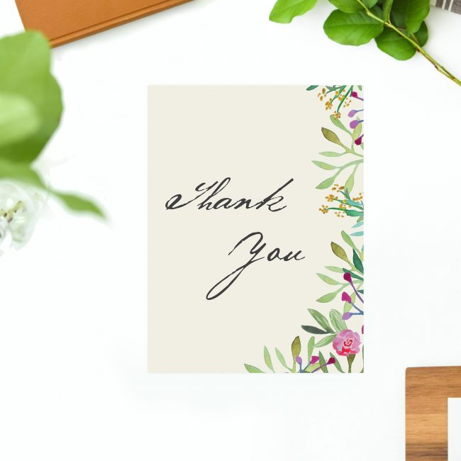 Forest Green Leaf Foliage Watercolour Wedding Thank You Cards