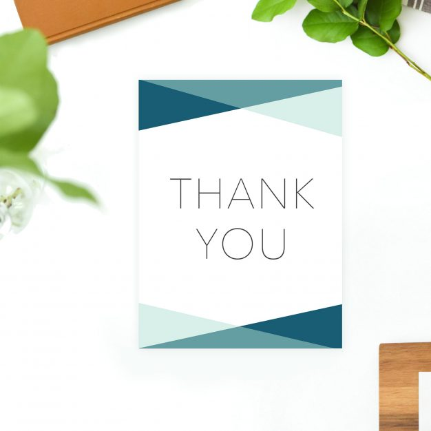Blue Turquoise Clean Minimal Modern Simple Wedding Thank You Cards