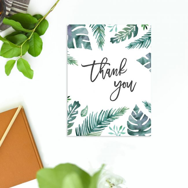 Thank You Card Green Tropical Leaf Wedding Thank You Cards Monstera Fern Leaves Watercolour