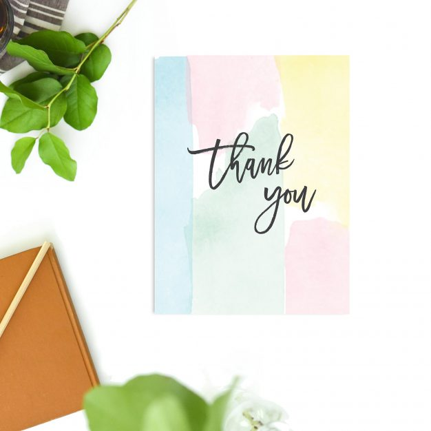 Pink Blue Green Pastel Watercolour Wedding Thank You Cards
