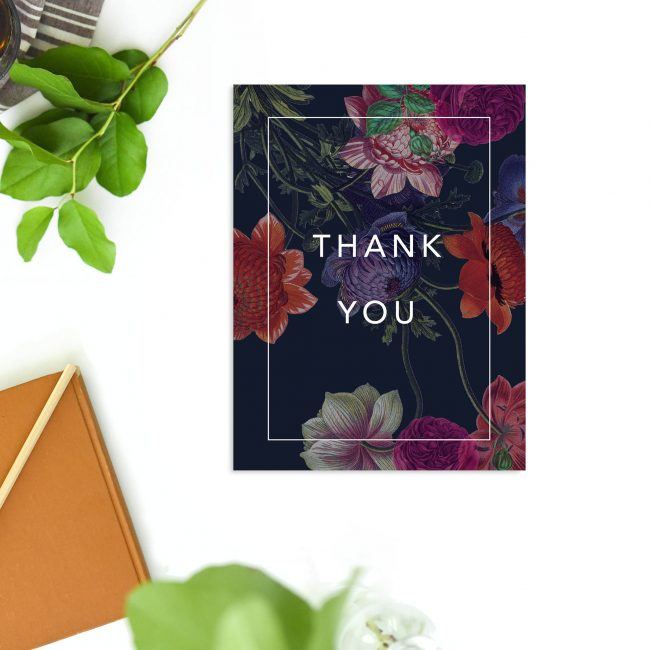 Deep Dramatic Dark Floral Wedding Thank You Cards - Black Purple Burgundy