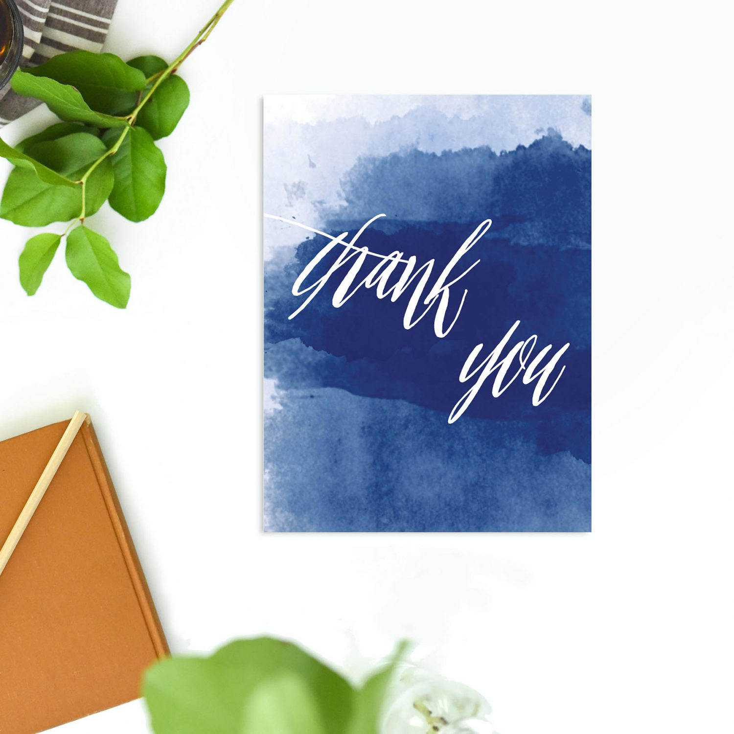 Masonry List Wide With Walker Elegant Navy Blue Watercolour Wedding Thank You Cards
