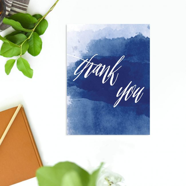 Elegant Navy Blue Watercolour Wedding Thank You Cards