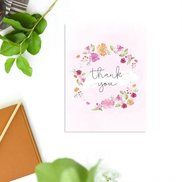 Pastel Flowers Floral Wreath Thank You Cards - Pink Watercolour Flowers