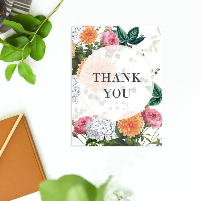 Peach Dahlias Pink Roses Botanical Wedding Thank You Cards