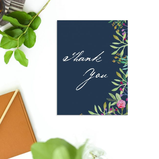 Navy Floral Watercolour Wedding Thank You Cards