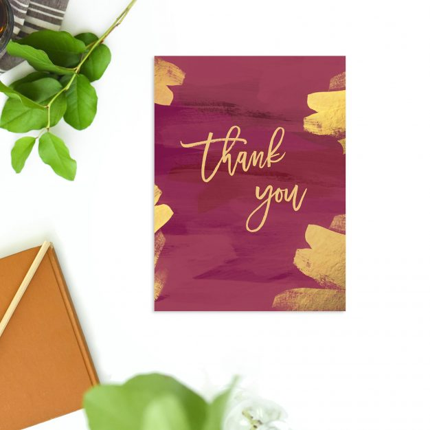 Brushed Gold Burgundy Wedding Thank You Cards Crimson Red Burgundy Gold