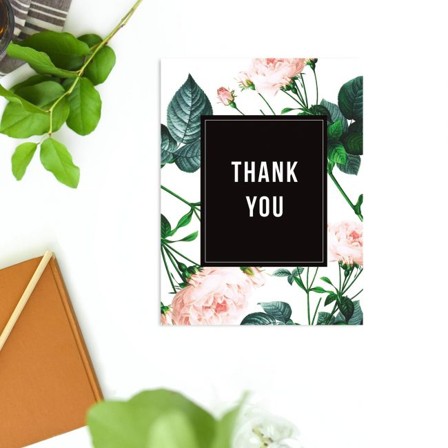 Modern Sophisticated Rose Wedding Thank You Cards