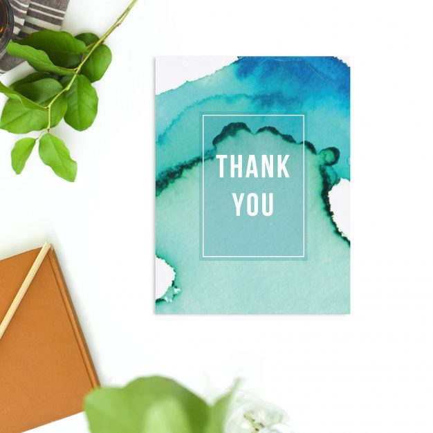 Turquoise Abstract Watercolour Wedding Thank You Cards