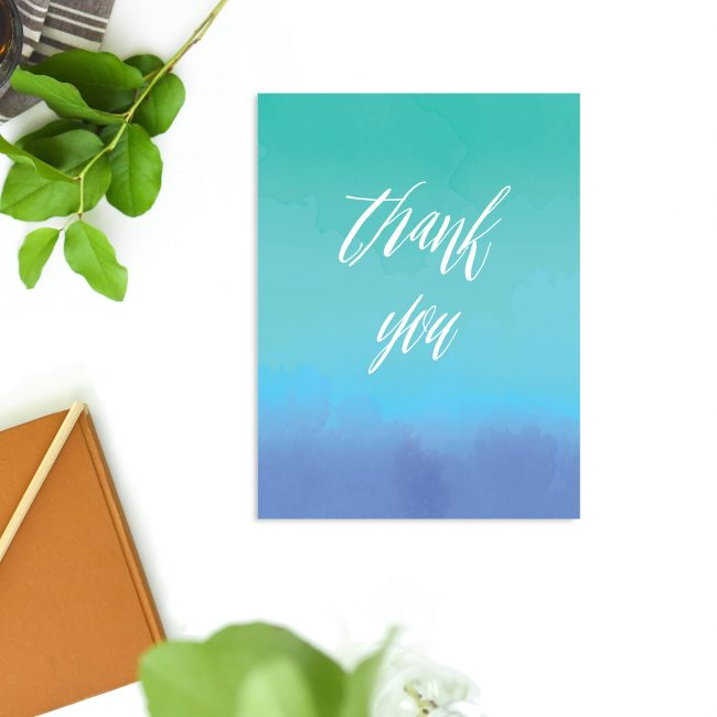 Turquoise Blue Watercolour Wash Wedding Thank You Cards – Ocean Wash Green Blue