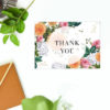 Peach Dahlias Pink Roses Botanical Wedding Thank You Postcards