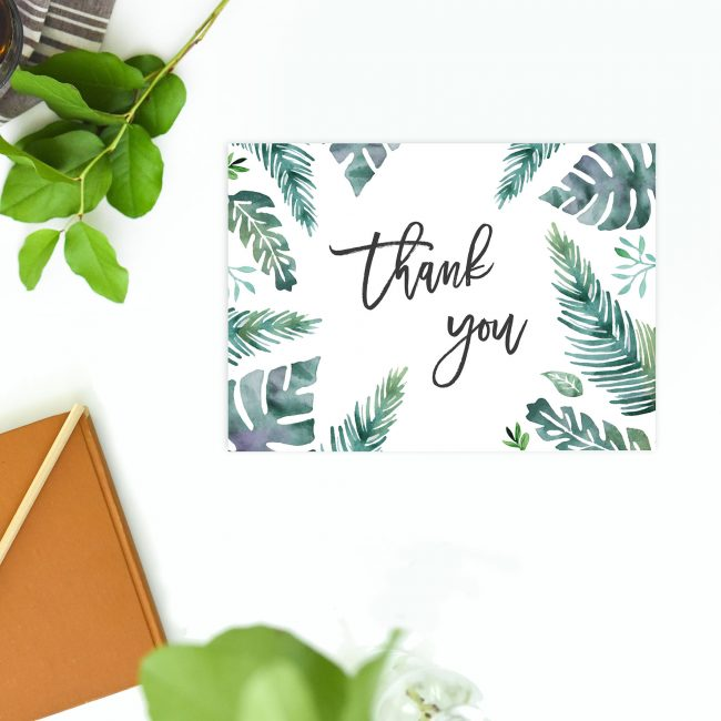 Green Tropical Leaf Wedding Thank You Postcards